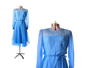 60s Rhinestone Dress Chiffon Dress 60s Dress 1960s Vintage Dress Blue Dress Party Dress Women Vintage Dress Vintage Clothing Dresses