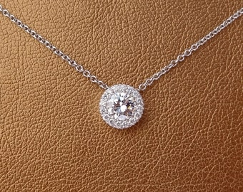 Solitaire Diamond Halo Pave Pendant 18k White Gold Look of 1.75 Carats