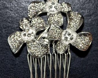 Silver Mini Haircomb with Crystals (HLDtiara-181)