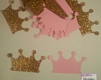 100 Gold Glitter and Pink Princess Crown Confetti  - Tiarra Gold and Pink Party - Baby Princess Party  - Prince Party - Wedding Decor