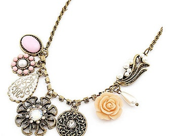 Handmade Vintage Style Floral and Fanciful Necklace- Lovely