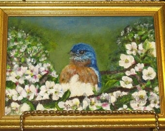 Baby Eastern Bluebird Framed Original Oil Floral Painting - includes shipping