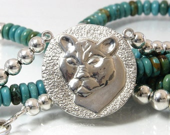 Turquoise Necklace With Sterling Silver Cougar Pendant And Beads 27 Inches Long