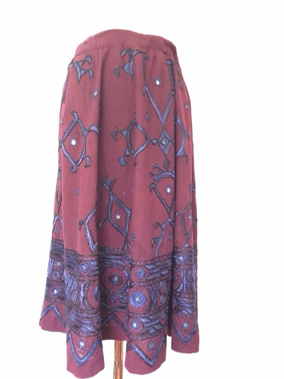 vintage Indian cotton skirt embroidery midi flared aubergine purple eggplant blue mirrors festival Mom skirt