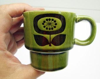 4 Stacking Atomic Flower Stacking Cups Japan 1960s Green