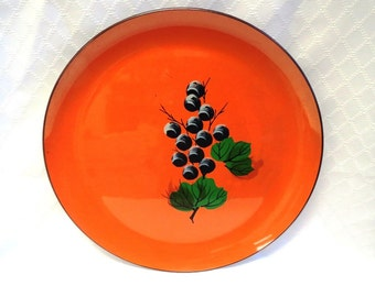 Vintage Enamelware Plate/Tray Hermes Orange Made in Japan