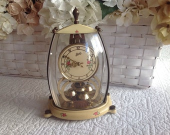 Gorgeous antique shabby romantic cottage rose covered German clock