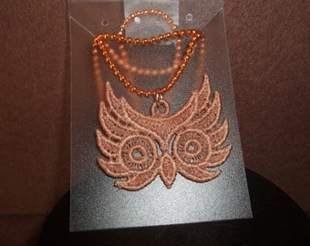 Embroidered Owl Head Necklace