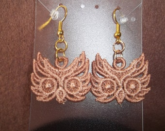 Embroidered Owl Head Earrings