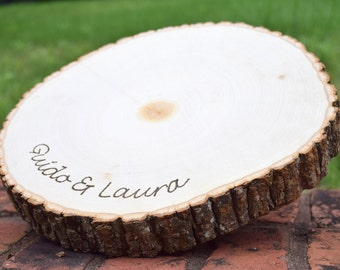 Rustic Wedding Centerpiece - Round Tree Bark Slice - Rustic Wood Tree Trunk Slice - Natural Wood Slice - Personalized Tree Slice
