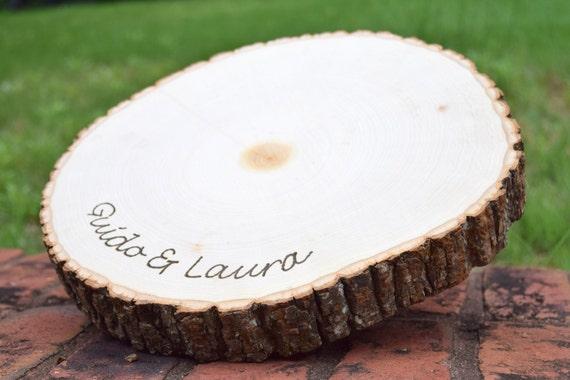 Rustic wedding centerpiece round tree bark slice