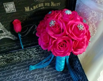 Wedding Bouquet Hot Pink Rose With Matching Boutonniere Hot