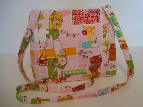 ... City Girl Print/ Pink, White, Green, Yellow, Red, Orange, Blue, Brown