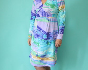 Vintage 70's Tori Richard - Honolulu Resort Glamwear - Long Sleeved, Polyester Dress, Size 16