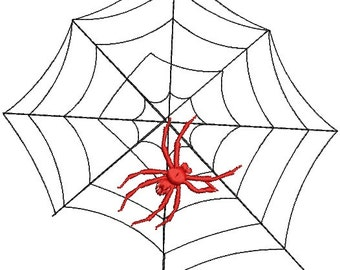 Spider on a spider web  - Machine Embroidery Design - two sizes