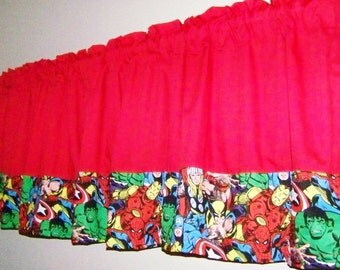 COLORBLOCK  SUPERHERO Red  Valance, Curtain Boys Room,  Window Treatment for  kid's   Room, 42 x 17 inches, Length include Rod Pocket.