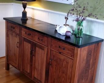 Reclaimed oak craftsman style sideboard server