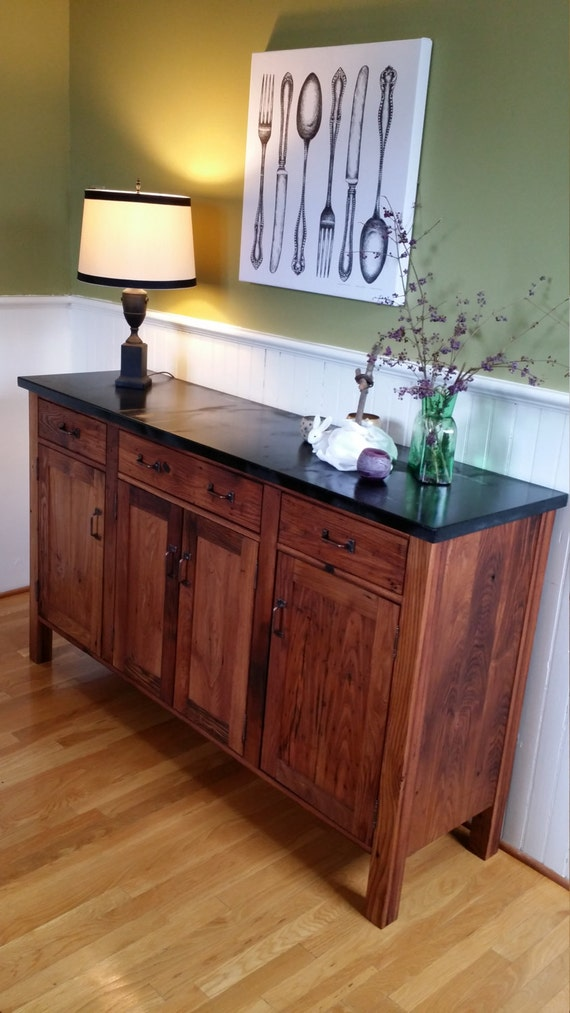 reclaimed oak craftsman style sideboard server