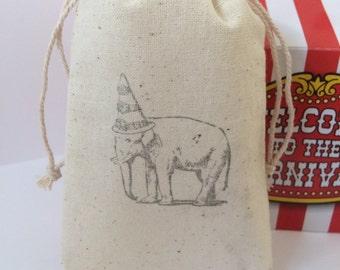 Elephant Birthday Circus Theme Kids Birthday 3x5 Muslin Favor Bags, Set of 10