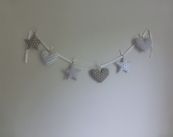 Handmade Heart and Star Hanging Bunting/Garland