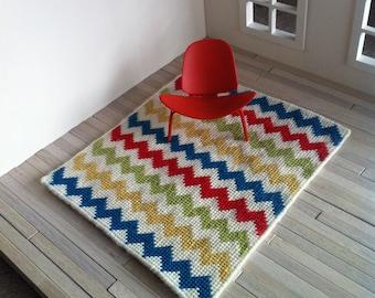 SALE 1:12 Dollhouse Miniature Floor Rug Needlepoint Multicoloured Chevron
