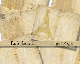 Paris diy printable journal pages digital paper pack grunge shabby French backgrounds collage sheet journaling instant download scrapbook