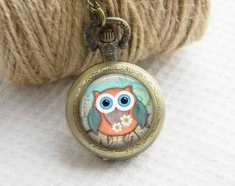 Owl Pocket Watch Necklace Art Photo Pendant Watch Locket Women Necklace (063)