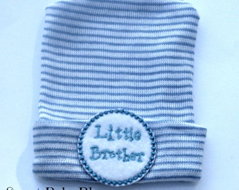 Hospital hat for newborn baby boy, little brother baby hat, blue newborn hospital hat, newborn baby boy, brother,l baby boy little brother