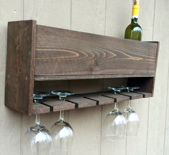 Wine Glass Rack With Bottle Storage Wall Mounted
