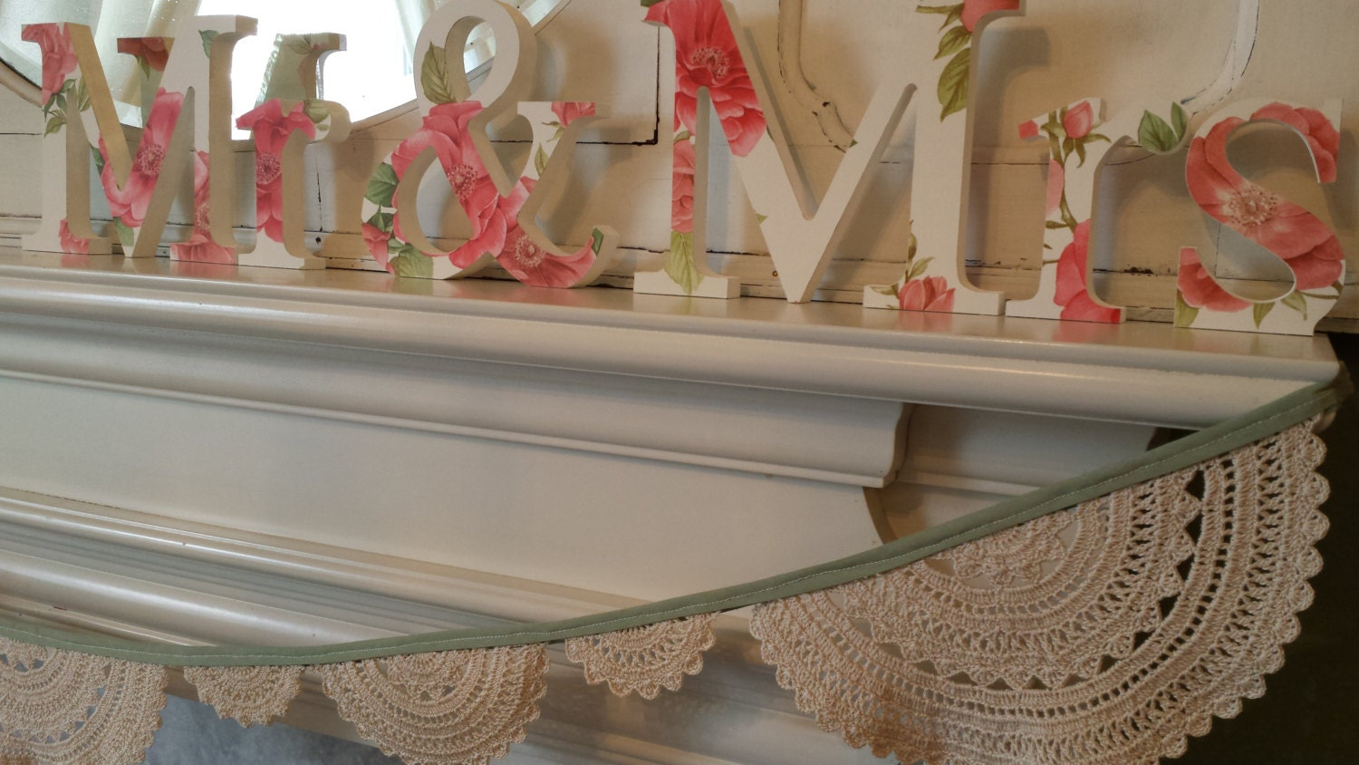 Elegant old rose design in shades of pink Mr and Mrs free standing wooden wedding decoupaged letters. 15 cm high