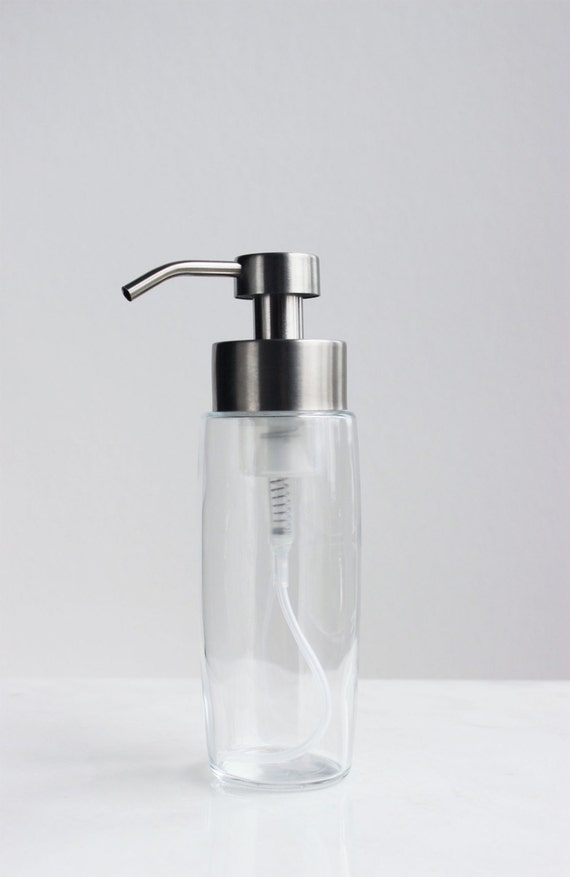 Metal Dispenser Soap Dish Toothbrush Holder Bathroom: Large Glass Foaming Soap Dispenser With Stainless Steel By
