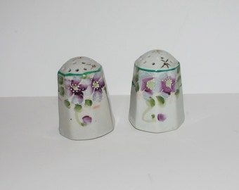 Floral Salt and Pepper Shakers-  Purple Flowers