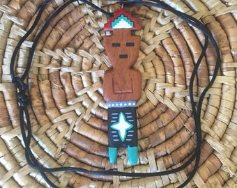 wood carved Native American man necklace, wood carved native necklace, wood Native American man, wood native necklace