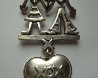 Vintage Signed Danecraft Silver pewter Lady/Man Dangler XOX Heart Brooch/Pin