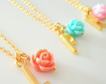 Gold plated personalised flower girl necklace, flower girl gift, flower girl necklace, personalized flower girl gift,childrens jewelry,