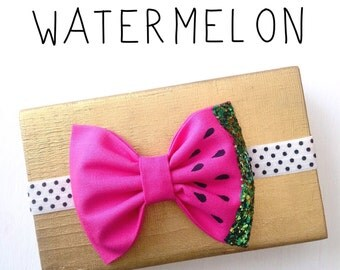 Watermelon bow headband hot pink green glitter bow metallic sparkly accent baby girl