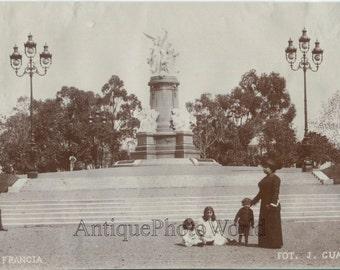 Woman w children policeman Plaza Francis Buenos Aires Argentina antique photo