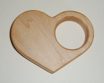 Maple Heart Baby Rattle*** Teething and Grasping Toy*** Natural Organic Teether