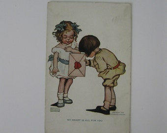 Valentine's Day Artist Signed Post Card - K Gassaway - My Heart Is All For You - Used - 1906