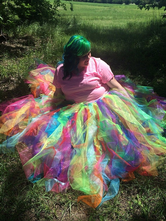 Fluffy Neon Rainbow Tutu Skirt