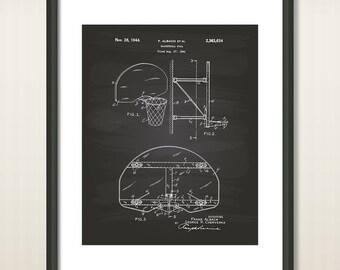 Basketball Goal 1944 Patent Art Illustration - Drawing - Printable INSTANT DOWNLOAD - Get 5 colors background