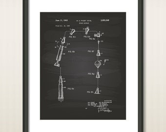 Space Capsule 1963 Patent Art Illustration - Drawing - Printable INSTANT DOWNLOAD - Get 5 colors background