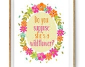 Kids Wall Art - Floral Wreath Print with Quote - Do you Suppose She's a Wildflower - Instant Download Wall Art - Alice in Wonderland Quote
