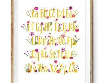 Floral Alphabet Print for a Baby Girl's Nursery - Instant Download Wall Art - Print at Home