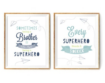 Brothers Superhero Print Set for a Boys Nursery/Bedroom - Instant Download Wall Art - Print at Home - Set of 2 Print 5% Discount