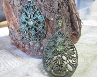Antique, Vintage, Dangling  filigree, Boho, Earrings