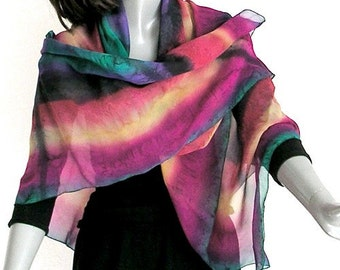 Large Square Scarf, Multicolor Scarf, Rainbow Scarf, Unique Silk Scarf, Hand Painted silk, One of a Kind, Artisan Handmade, Unique, Jossiani