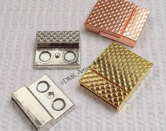Flat Rectangle Textured Magnetic Clasp 26.5 x 21 x 5 mm for Kumihimo or Leather Bracelets