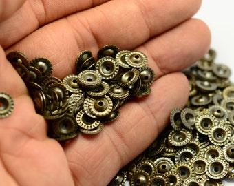 200 Pcs Antique  Brass 8 mm Bead Caps ,Connectors,Findings