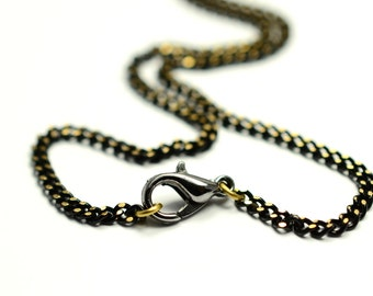 """5 Pieces Gold Black 2x2.5 mm Link Chain 70 cm ( 27"""" ) Necklace Finished Chain"""